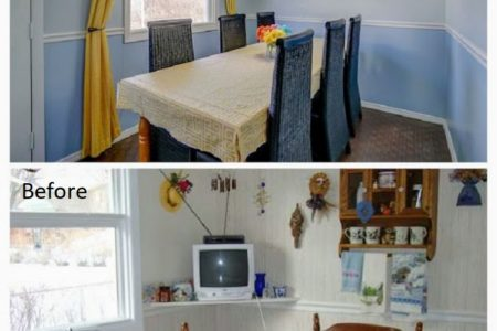 BEFORE AND AFTER KITCHEN MAKEOVER WITH DIY PAINTED CABINETS