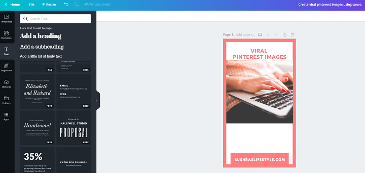Create viral pinterest images using canva