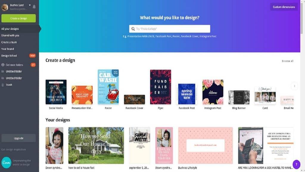 Pinterest images using free canva