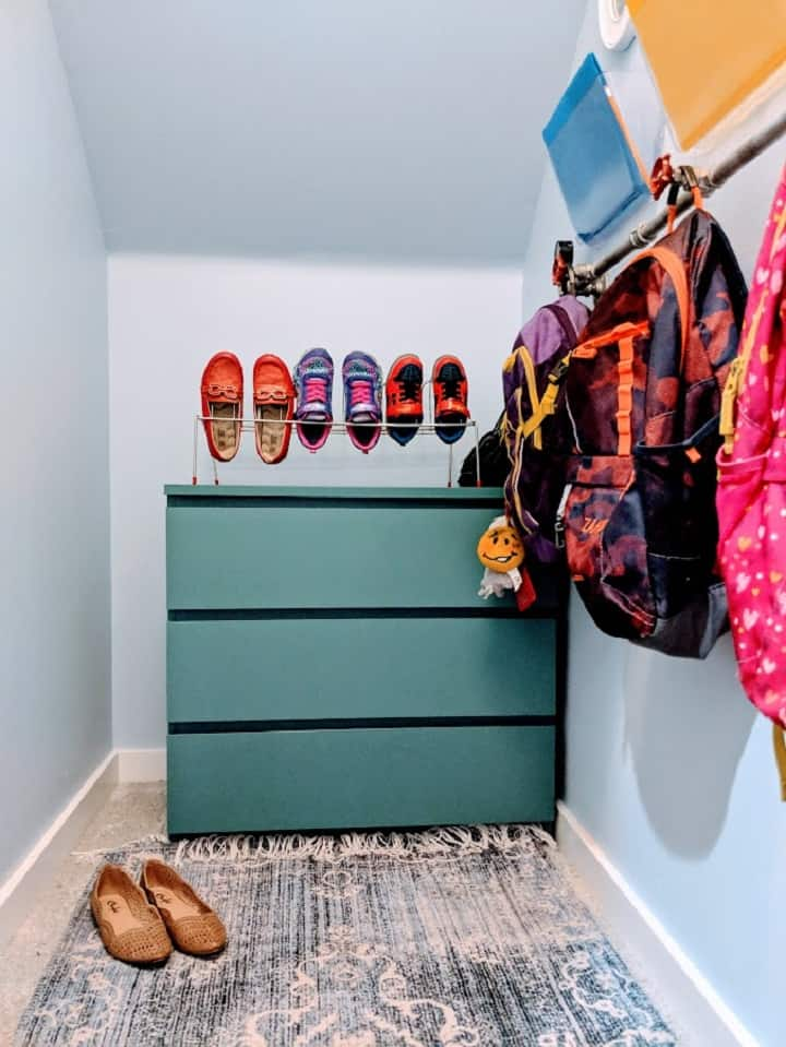 coat closet dresser and shoes