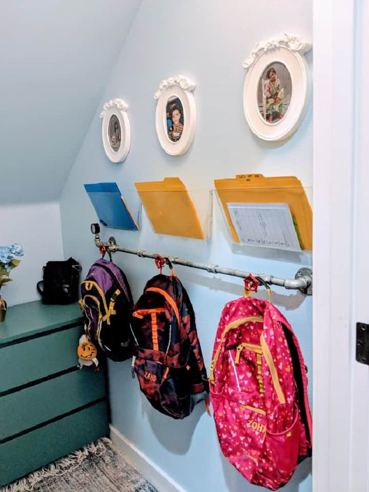 school bags in the coat closet