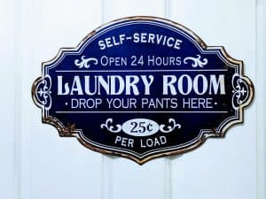 Laundry room door sign