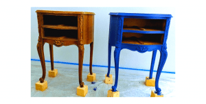 before and after chalk painted furniture