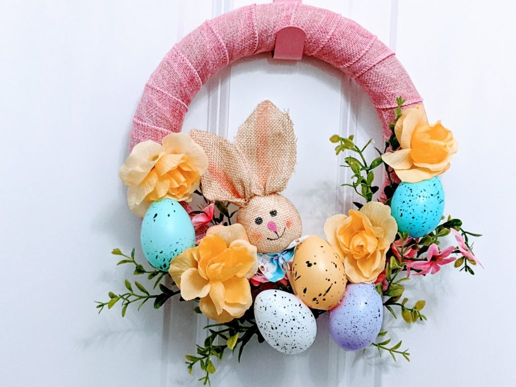 Plastic easter eggs wreath