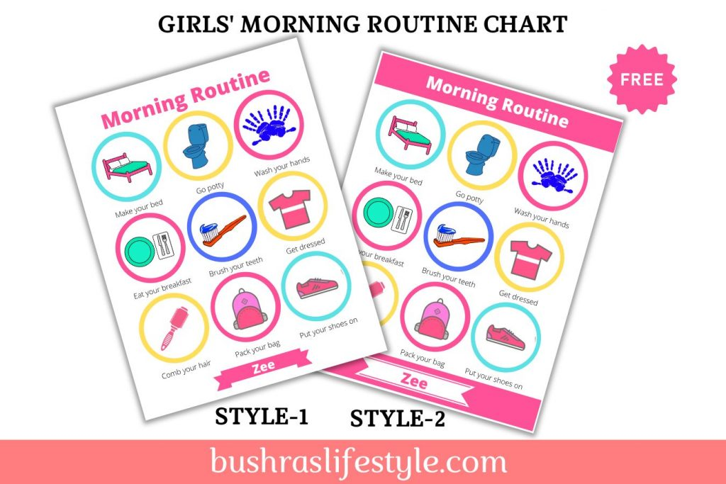 morning routine chore chart for girls