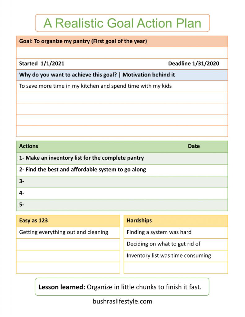 Organizing goal setting sheet